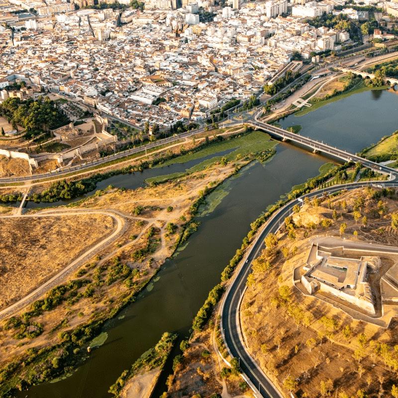 Badajoz a vista de pájaro